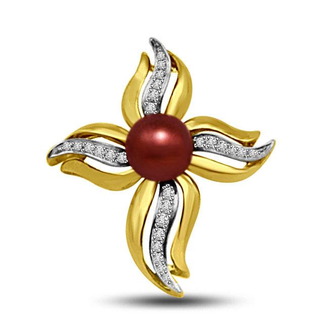 0.13 TCW Flower shaped two tone diamond Pendants -Flower Shape Pendants