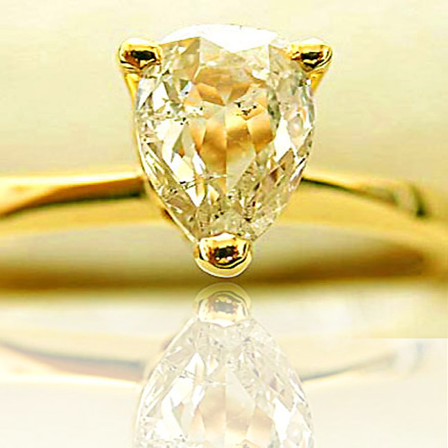0.14ct Yellow/I1 Pear Diamond Solitiare Engagement rings -18k Engagement rings