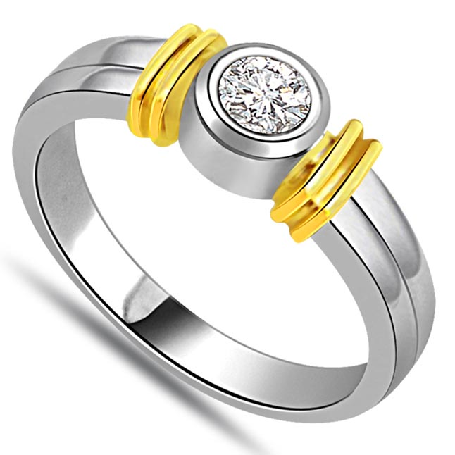 0.15 ct Diamond Two Tone Solitaire rings