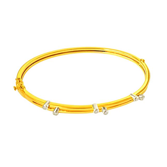 0.15 cts Real Diamond & Gold Plated 925 Sterling Silver Bracelet For Your Love -Diamond Bracelets