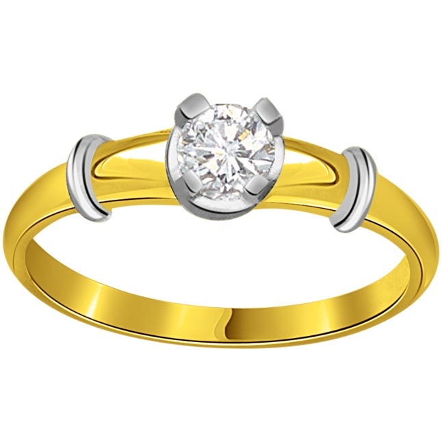 0.15 cts Diamond Solitaire Two Tone 18K Engagement rings