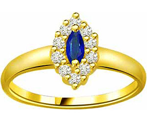 0.15cts Diamond & Marq Sapphire rings In 18K Gold