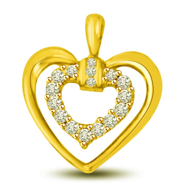 0.16 cts Heart Shape Diamond Pendants