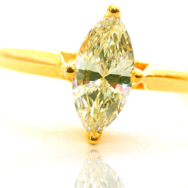 0.17ct Yellow/I1 Marquise Diamond Solitaire rings -18k Engagement rings