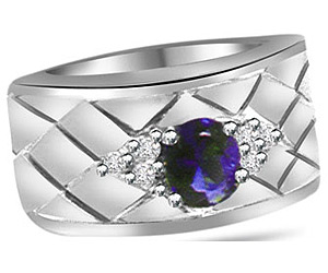 0.18 cts Designer Diamond & Sapphire rings In 14K Gold -Designer