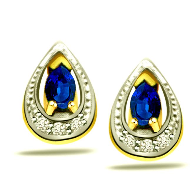 0.18ct Diamond & Pear Sapphire Earrings -Dia & Gemstone