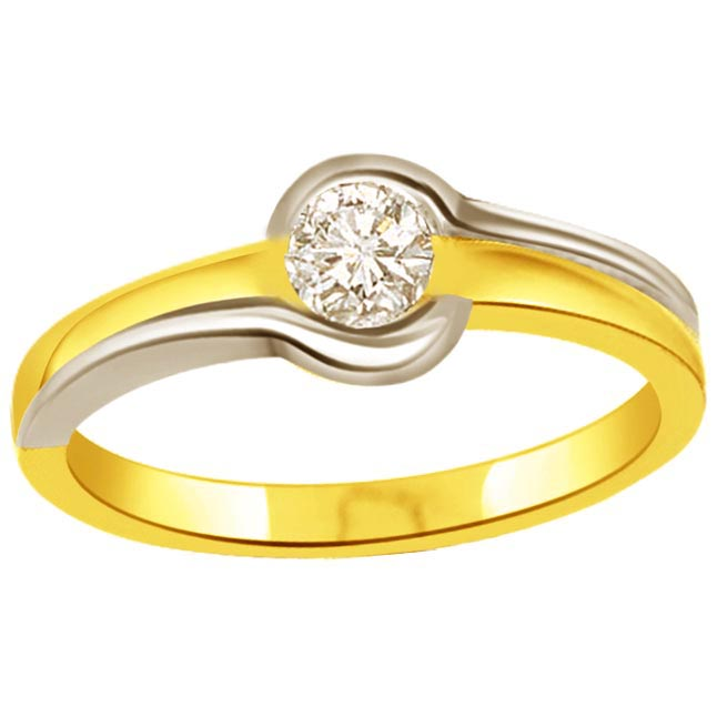 0.20 ct Diamond Two Tone Solitaire rings SDR364