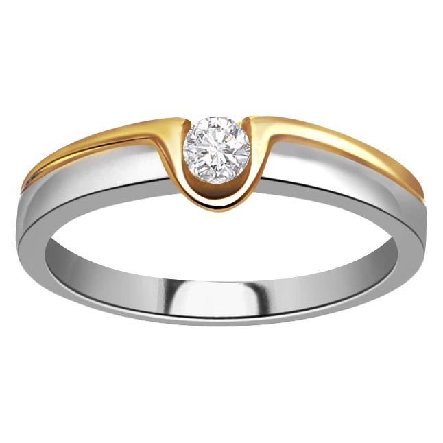 0.20 ct Diamond Two Tone Solitaire rings SDR366