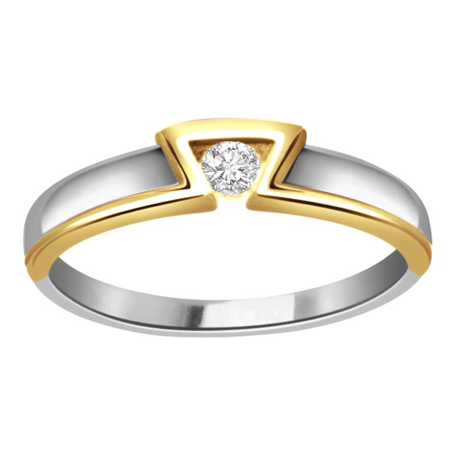0.20 ct Diamond Two Tone Solitaire rings SDR367