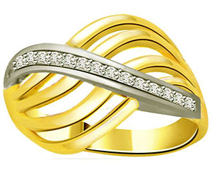 0.20 cts Designer Two Tone Diamond 18K rings