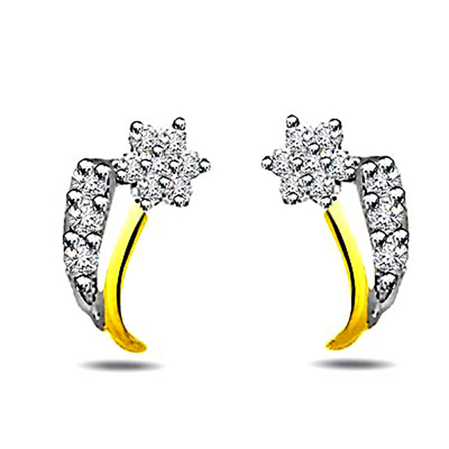 0.20 cts Diamond Earrings -Flower Shape Earrings