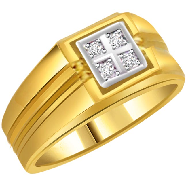 0.20 cts Diamond 18k Gold Men's rings