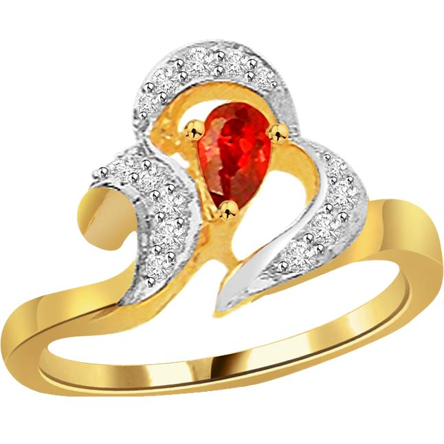 0.20 cts Diamond & Ruby Two Tone 18K rings