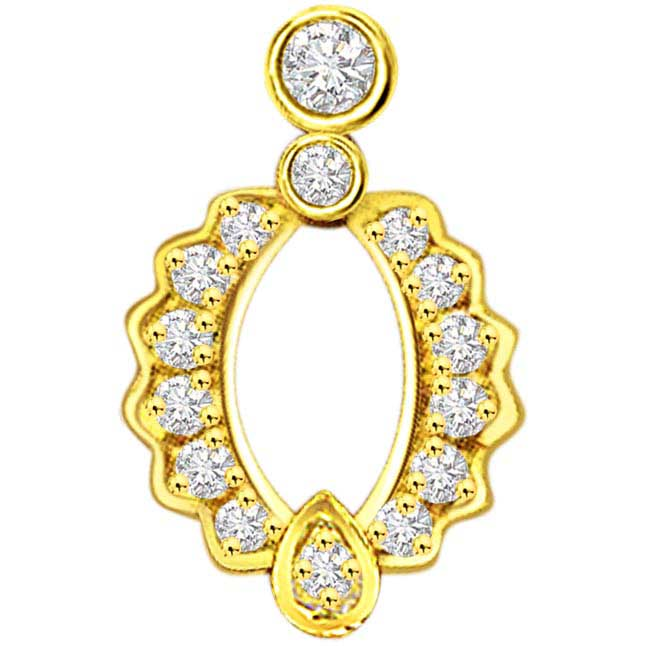 0.20 cts Elegant Curves Diamond Pendants -Designer Pendants