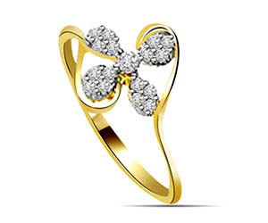 0.20 cts Flower Shaped Diamond Solitaire rings