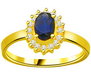 0.20 cts Flower Design Diamond & Oval Sapphire rings