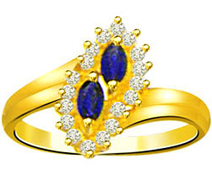0.20 cts Twin Flower Diamond & Marq Sapphire rings