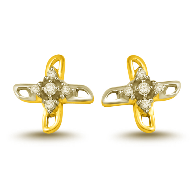 0.20 cts Two Tone Diamond Earrings -Two Tone Earrings