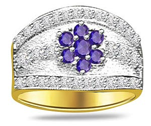 0.20 cts Two Tone Gold Flower Design Sapphire & Diamond rings