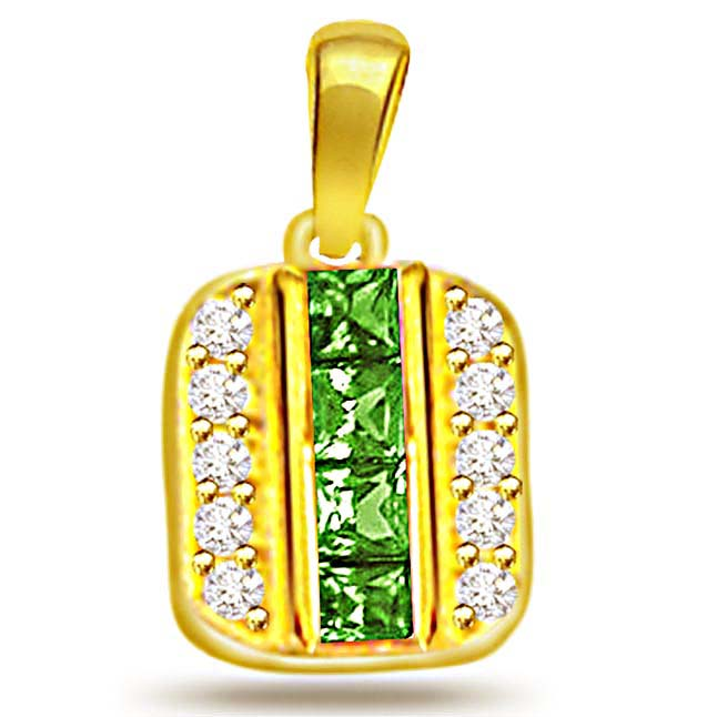 0.20ct Diamond & Lustrous Emerald Gold Pendants