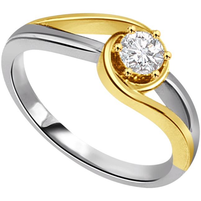 0.35cts J-K / I1 Big Solitaire Diamond  Two Tone Ring in 18K Gold