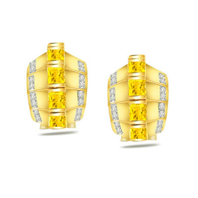 0.21ct Diamond Gold Earrings -Designer Earrings