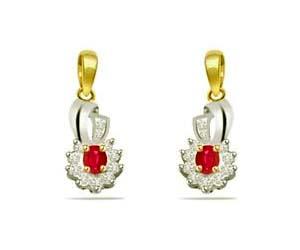 0.22 cts Diamond & Ruby Earrings -Designer Earrings