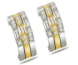 0.22 cts Diamond Two Tone Earrings -Two Tone Earrings