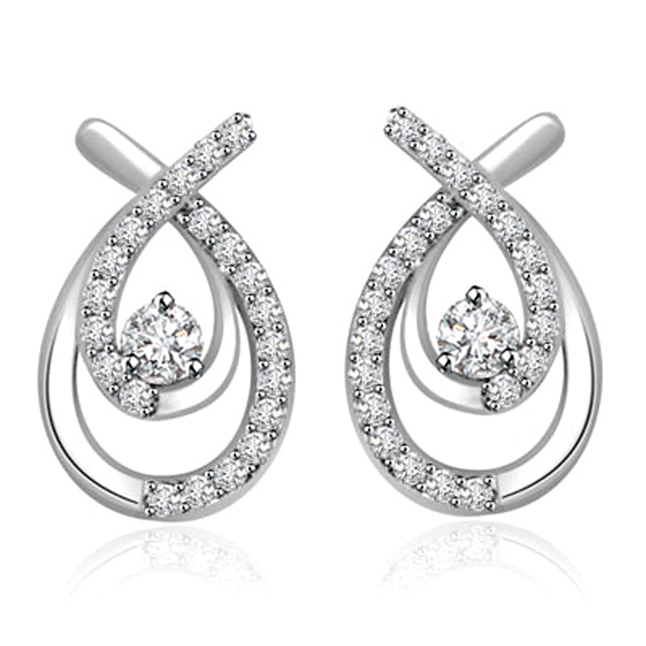 0.22 cts White Gold Diamond Earrings -Designer Earrings