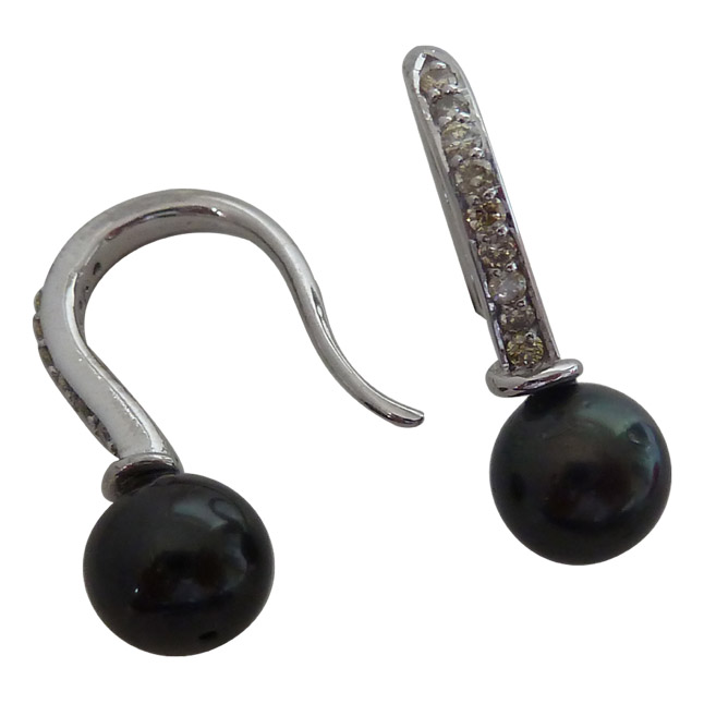 0.22ct Real Diamond & Tahitian Pearl Bali Earrings In 925 Sterling Silver -Tahitian Pearl Earrings