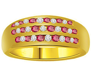 0.23 cts Diamond Ruby rings In 18K Gold