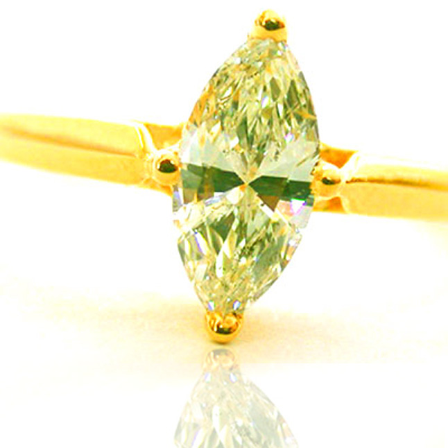 0.23ct Yellow/I1 Marquise Diamond Solitaire Engagement rings -18k Engagement rings