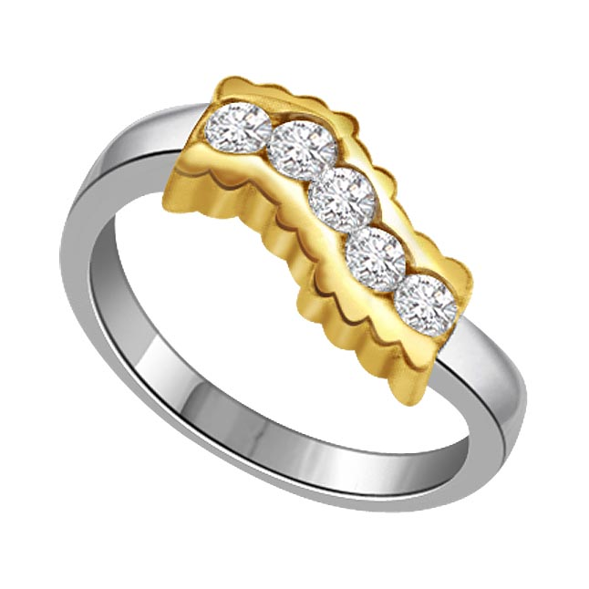 0.25 ct Diamond Two Tone rings -White Yellow Gold rings