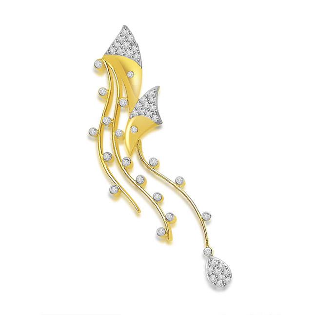 0.25 cts Fancy Diamond Pendants In 18KT Yellow Gold -Designer Pendants