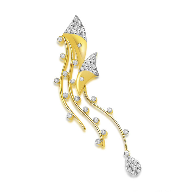 0.25 cts Fancy Diamond Pendants In 18KT Yellow Gold -Designer Pendants