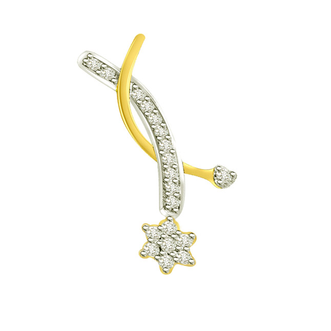 0.25 cts Flower Diamond 18K Pendants -Flower Shape Pendants