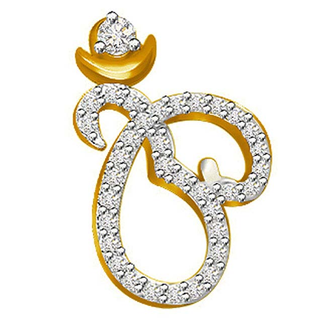 0.25 cts Om Diamond Pendants In 18K Gold -Religious