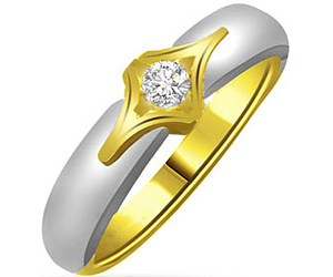 0.25 cts Solitaire Two Tone Diamond rings In 18k Gold