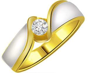 0.25 cts Two Tone Solitaire Diamond rings In 18k Gold