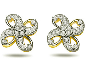 0.25ct Diamond Flower Shape Earrings ER -325 -Flower Shape Earrings