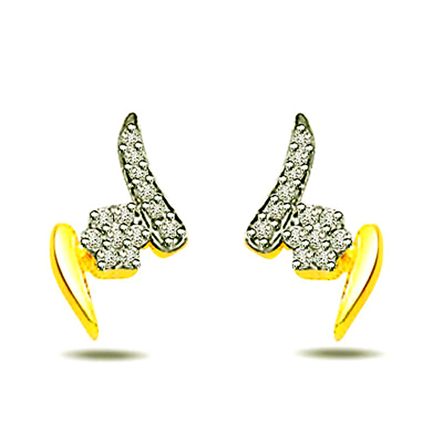 0.26ct Diamond Fancy Earrings -Two Tone Earrings
