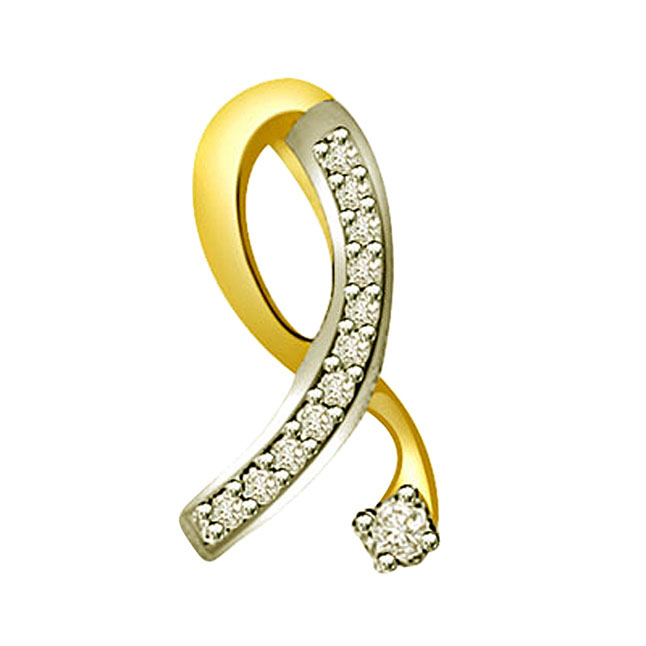0.26ct Trendy Diamond Two -Tone Gold Pendants
