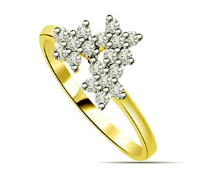 0.27 cts Flower Shaped Diamond Solitaire rings