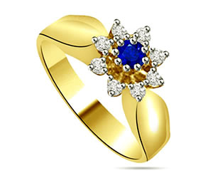 0.27cts Flower Shaped Diamond & Sapphire Ring