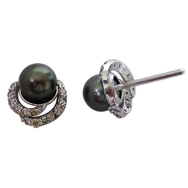 0.28ct Real Diamond & Tahitian Black Pearl Elegant Earrings -Tahitian Pearl Earrings