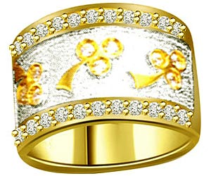 0.30 cts Diamond & Gold Wide B rings