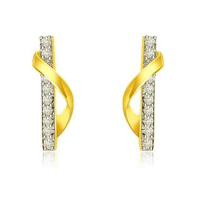 0.30 cts Trendy Diamond & 18k Gold Earrings -Designer Earrings