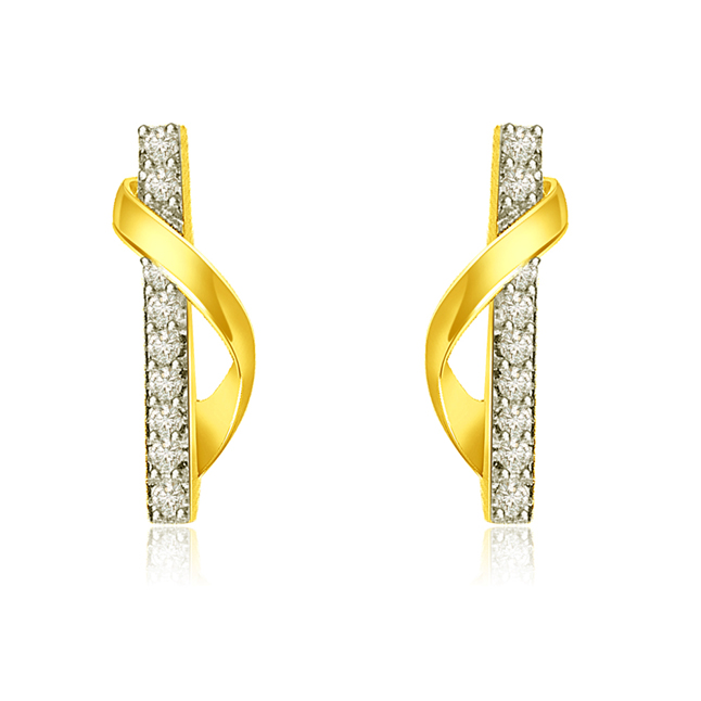 0.30 cts Trendy Diamond & 18k Gold Earrings -Designer Earrings