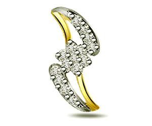 0.30 cts Two Tone Diamond Pendants -Flower Shape Pendants