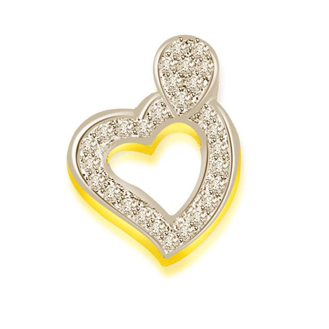 0.30 cts Two Tone Heart Shape Diamond Pendants
